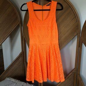 Express {NEON} orange dress! 🍊Eyelet, fully lined